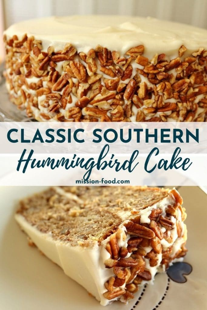 a hummingbird cake with pecan decorations on a pedestal and sliced on a plate