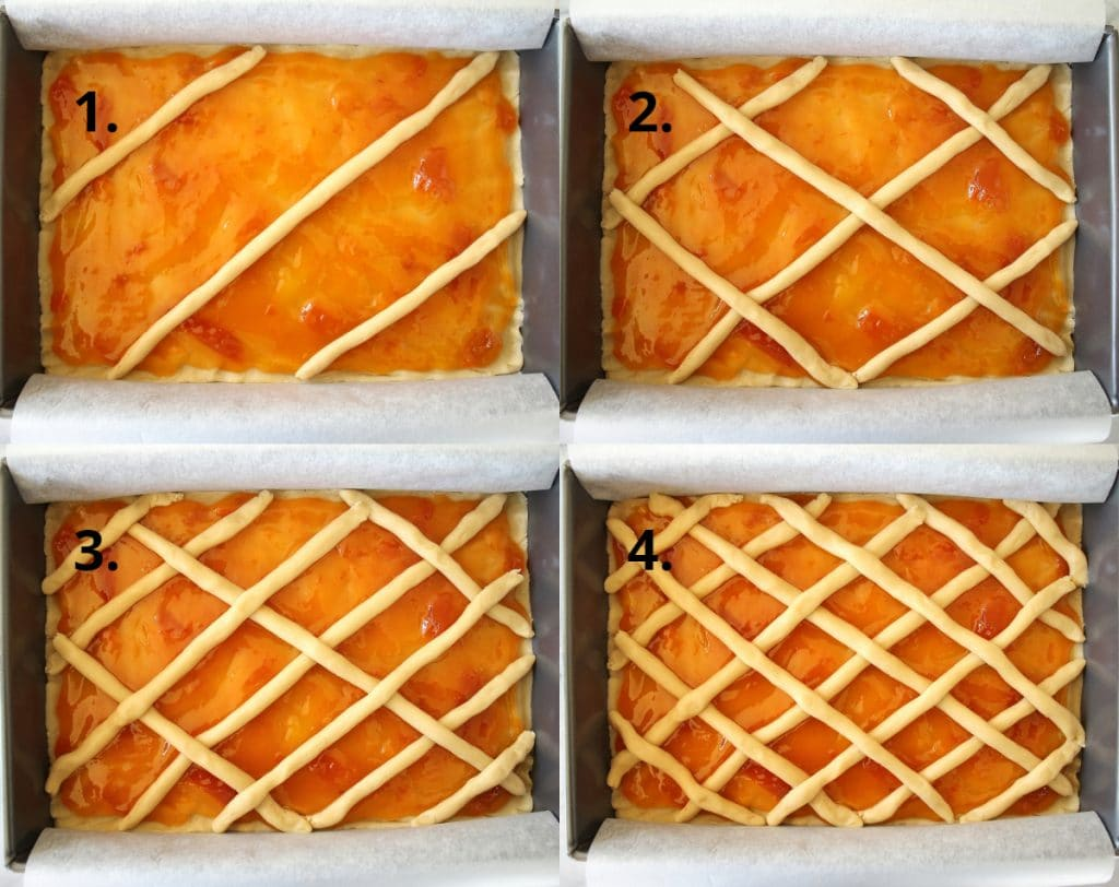 Assembling the lattice top of Russian pirog with apricot jam
