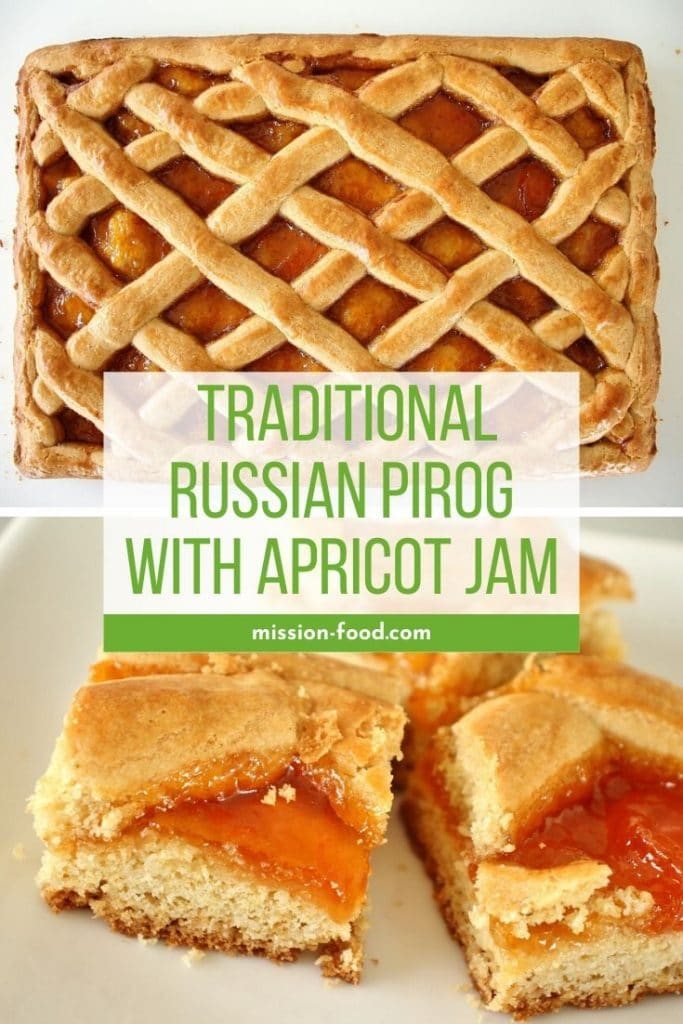 Photo collage. Top photo is baked Russian pirog with lattice top and apricot filling. Bottom photo is close up of squares of apricot pirog on a white plate.