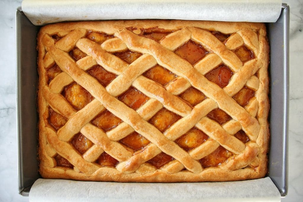 Baked pirog with a golden lattice top