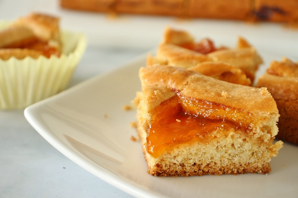 A closeup of 3 squares of apricot filled Russian pastry on a white plate