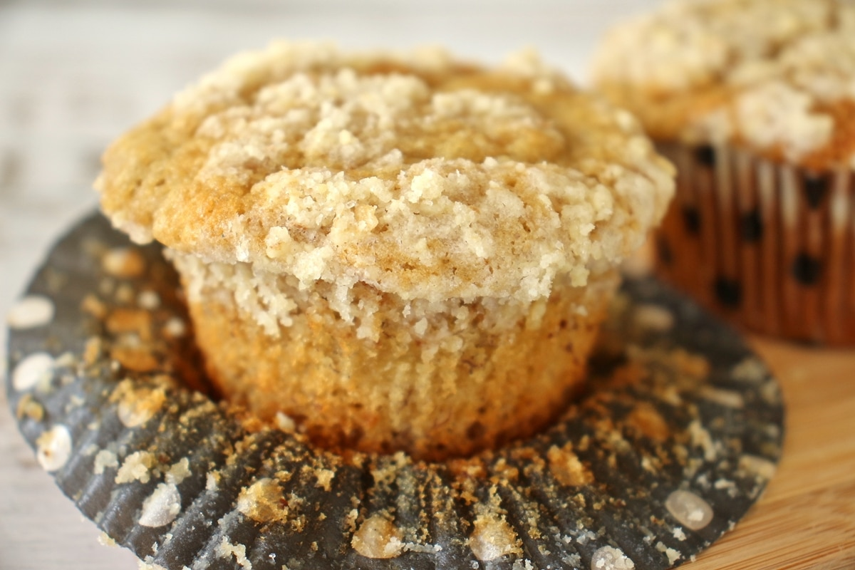 A closeup of a muffin with the wrapper peeled off