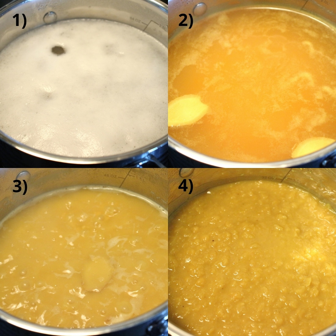 Step by step photos of cooking chana dal.