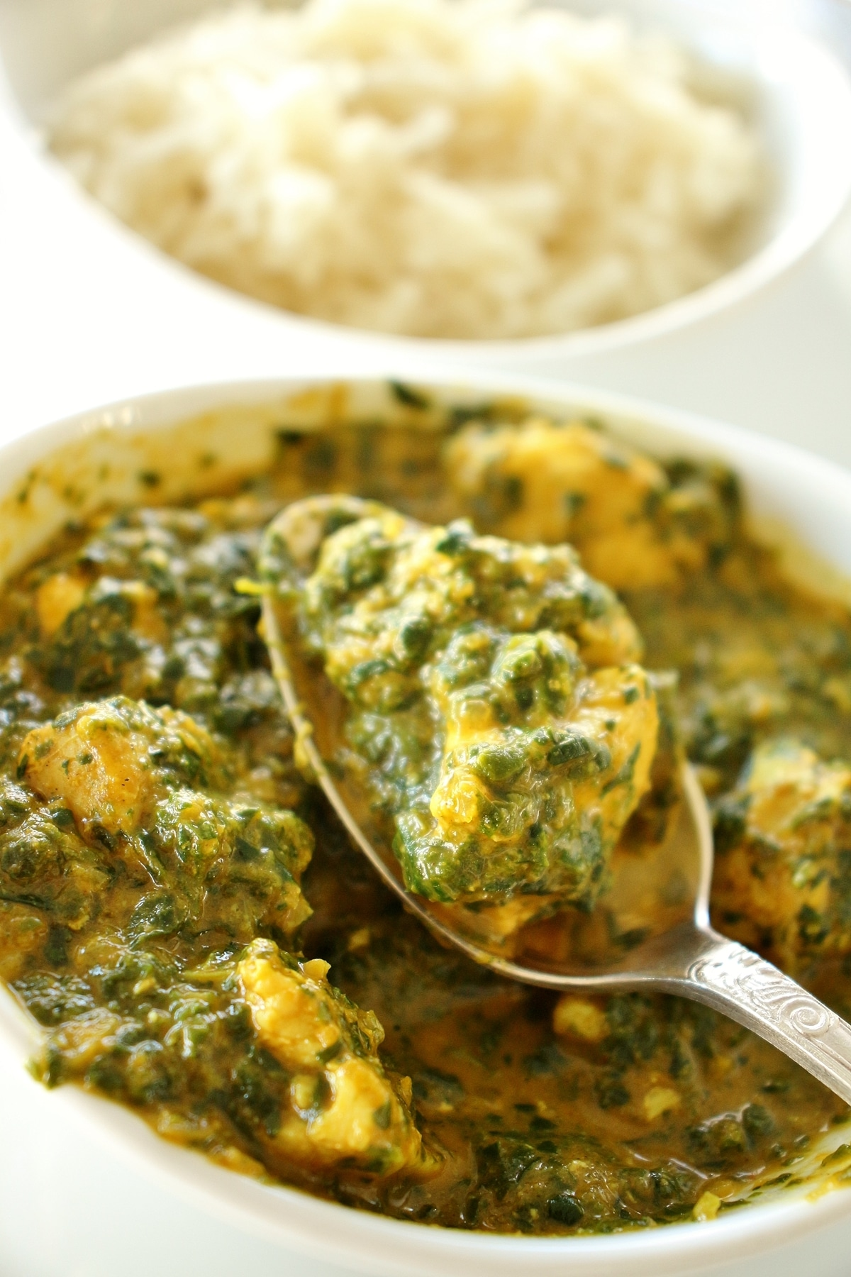 Indian chicken saag spinach curry in a white bowl with a spoon lifting some out