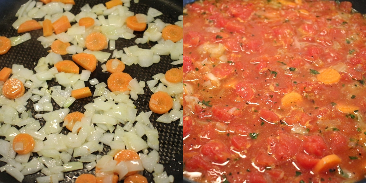 Step by step photo of cooking carrot and onions in a saute pan, then then after the addition of canned tomatoes and chicken broth.