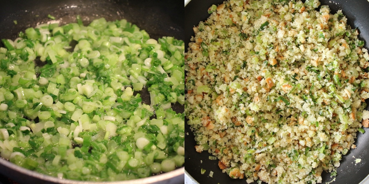 Step by step photos of cooking scallions and chopped celery in a saute pan, adding fresh bread crumbs