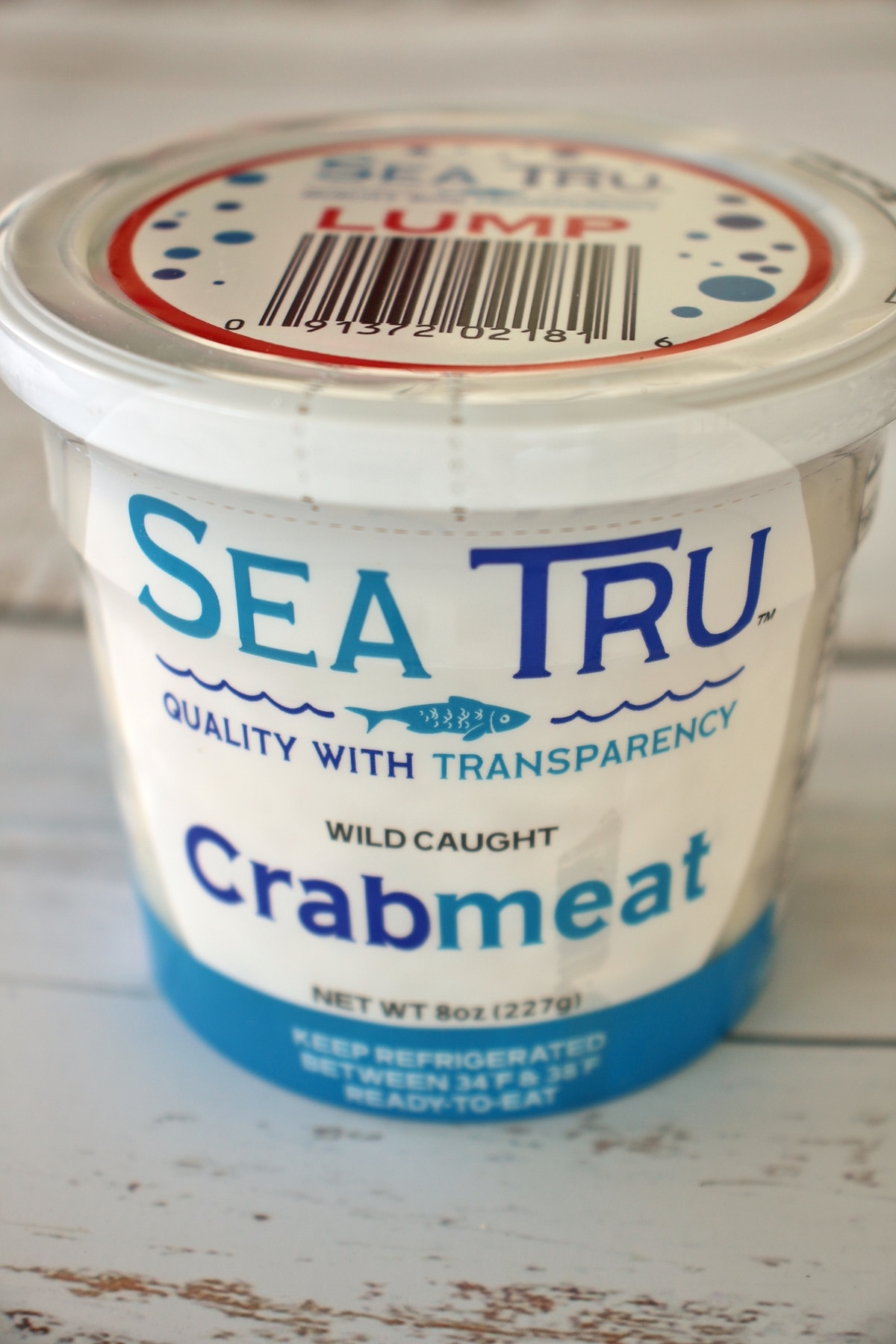 A package of lump crab meat by Sea Tru brand.