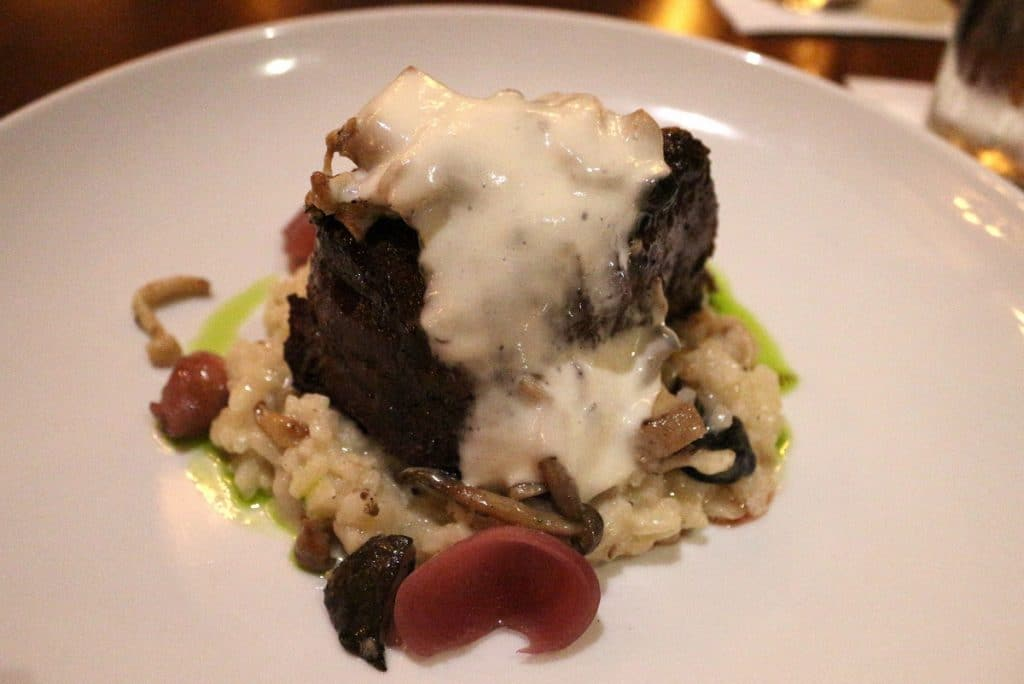 The famous Le Cellier Filet Mignon served at Le Cellier at Disney's Epcot. A bed of mushroom risotto is topped with a filet mignon steak, and a creamy white truffle butter sauce. It's served up on a white plate.