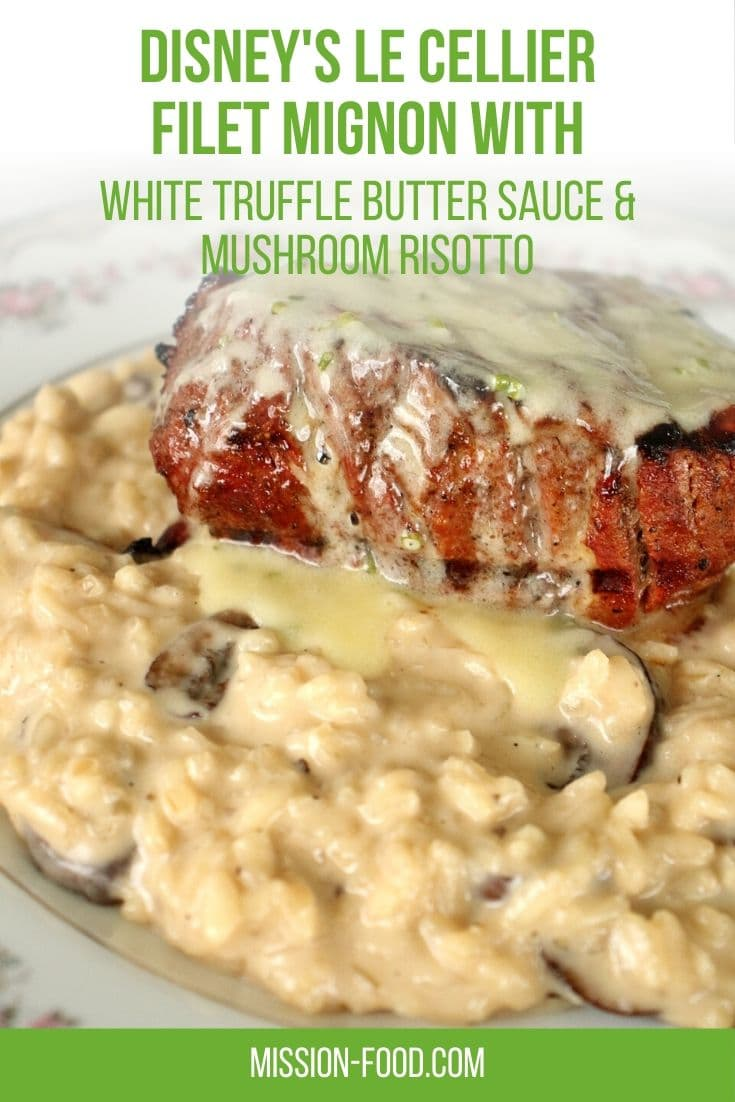 filet mignon over mushroom risotto with truffle butter sauce