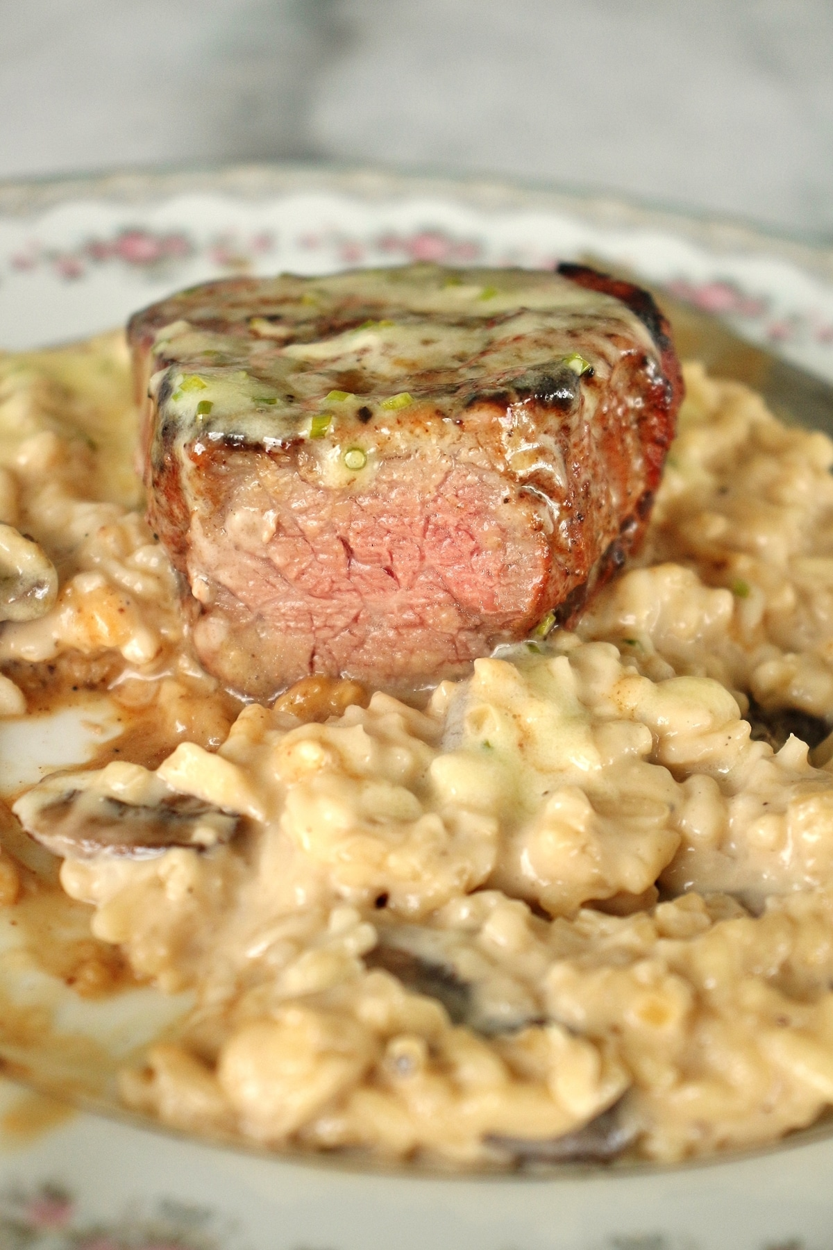 sliced Le Cellier filet mignon steak over a bed of mushroom risotto on a china plate