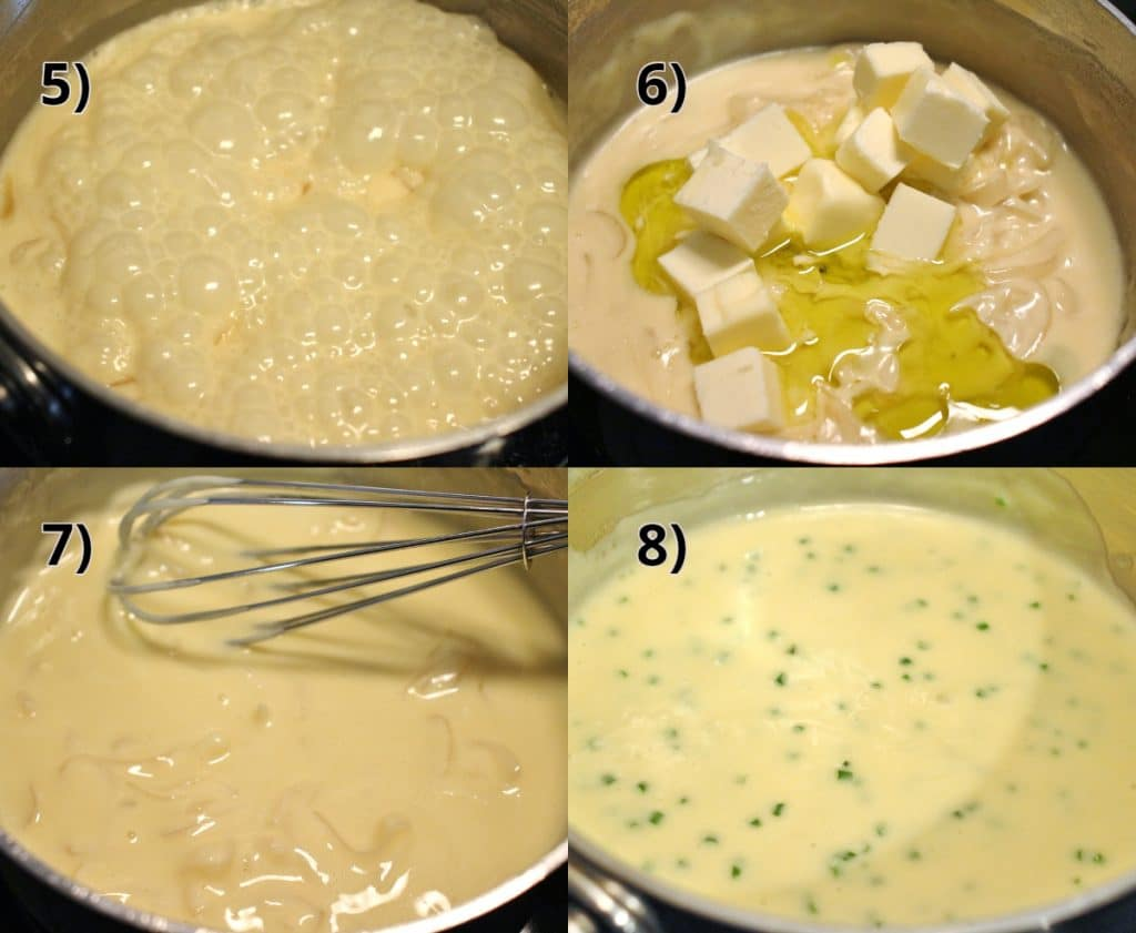 Step by step photo showing how to make the truffle butter sauce from Le Cellier at Walt Disney World