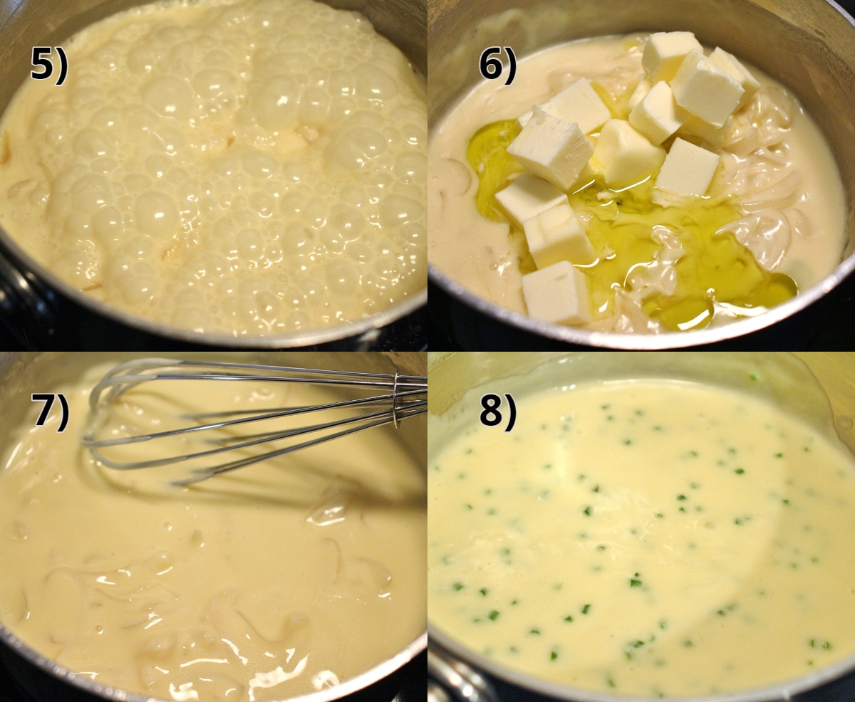 Step by step photo showing how to make the truffle butter sauce