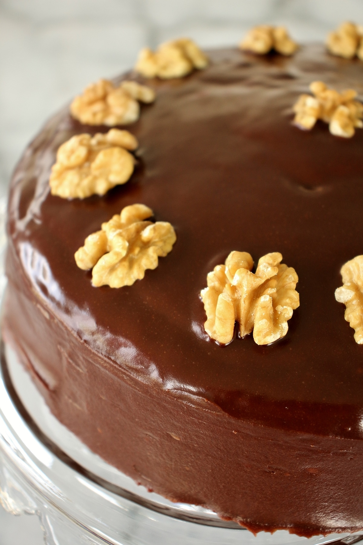 Close up of a zebra cake decorated with a glossy, chocolate glaze, and walnut halves around the circumference of the cake.