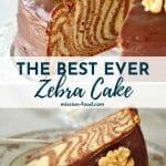 zebra cake with chocolate glaze and walnuts