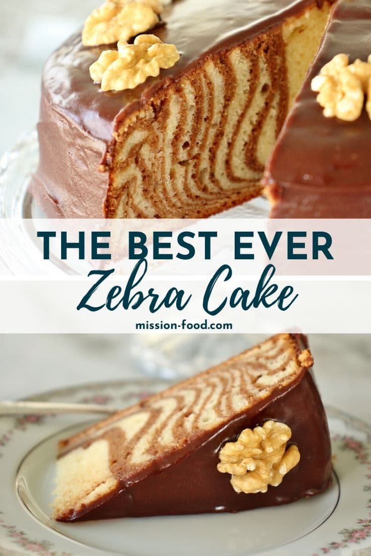 Photo collage: top photo shows the cross-section of a zebra cake with a slice removed. Bottom photo shows a slice of zebra cake with chocolate glaze and a walnut garnish.