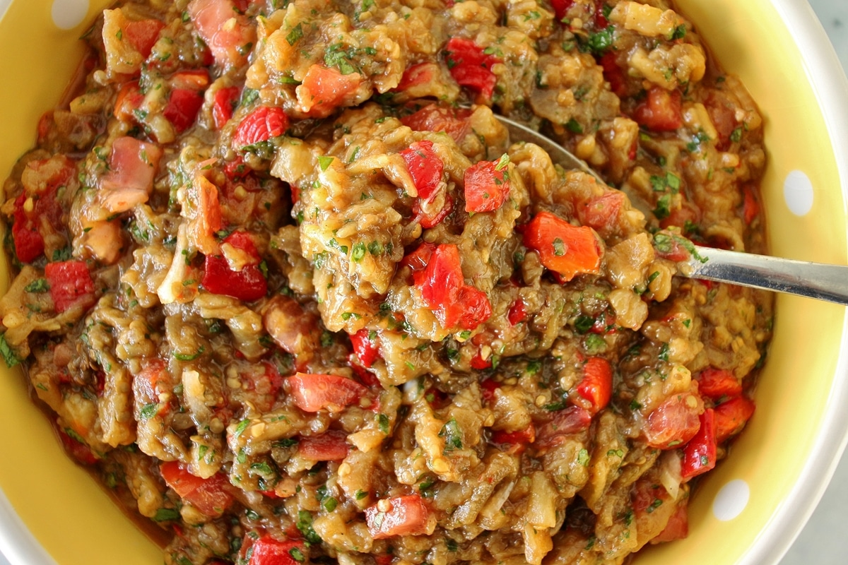 Armenian grilled vegetable salad with eggplant, red peppers, and tomatoes