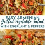Armenian grilled vegetable salad in a yellow and white polka dot bowl