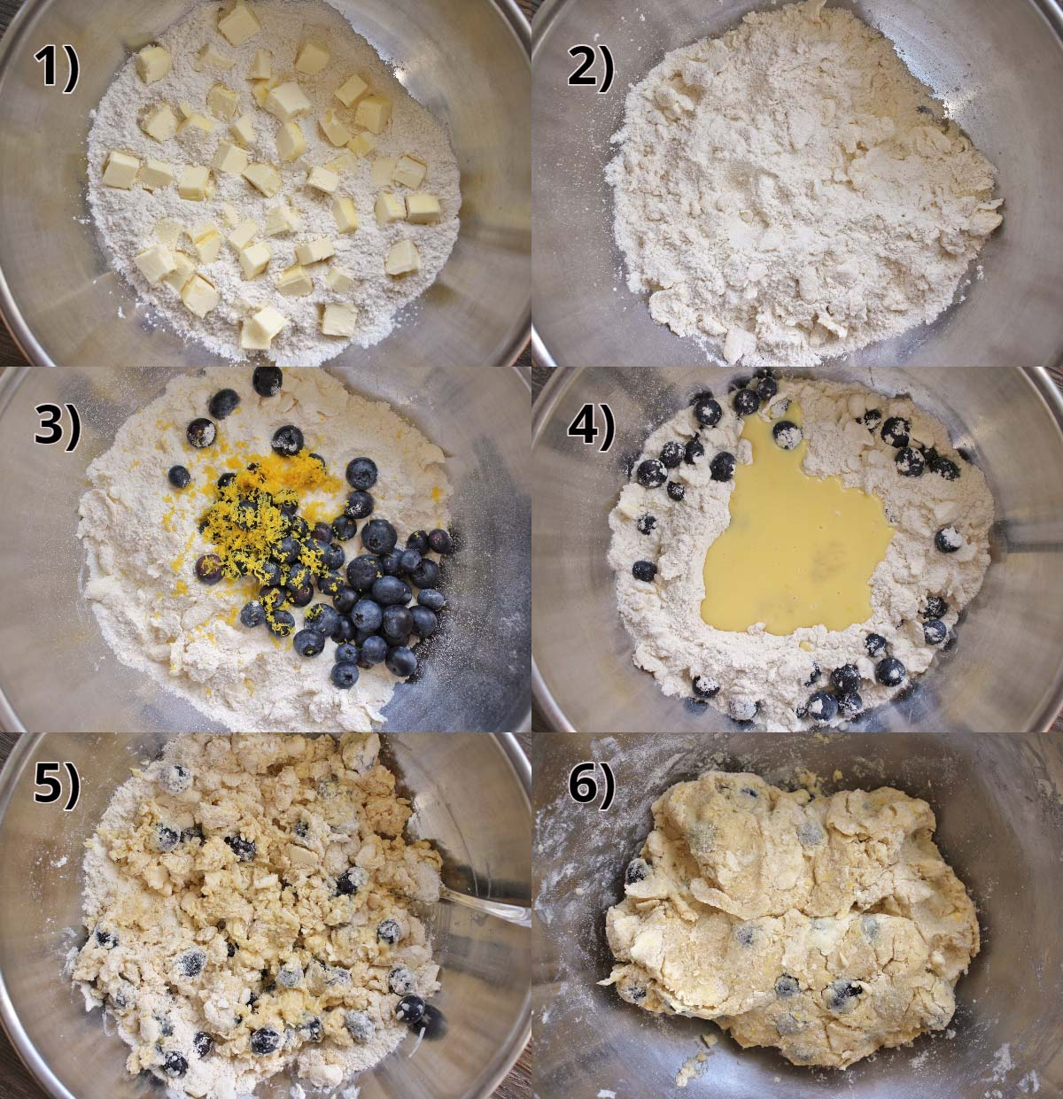 step by step photos of how to make blueberry lemon scone dough