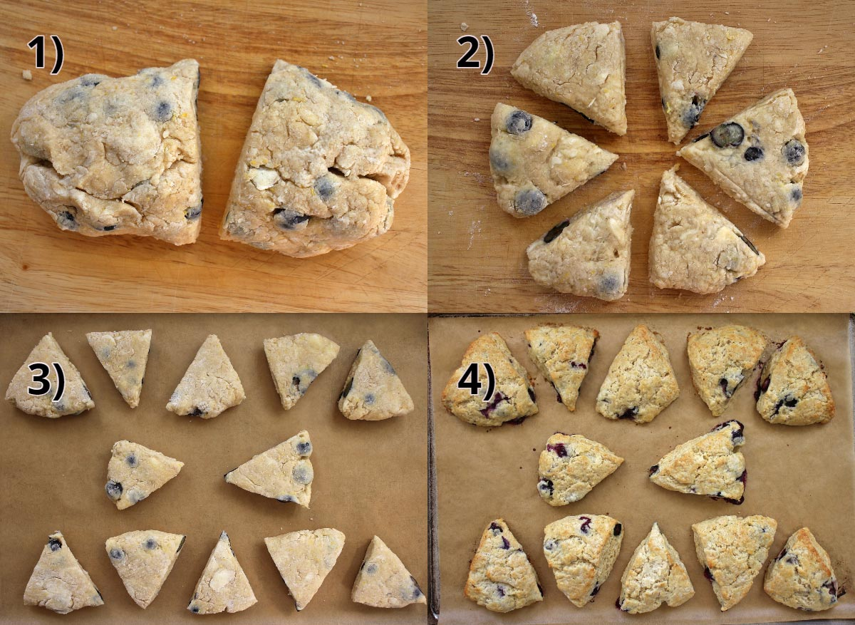 step by step photos of how to cut scones into triangles and bake them