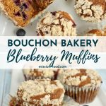 4 blueberry muffins with streusel topping on a white plate
