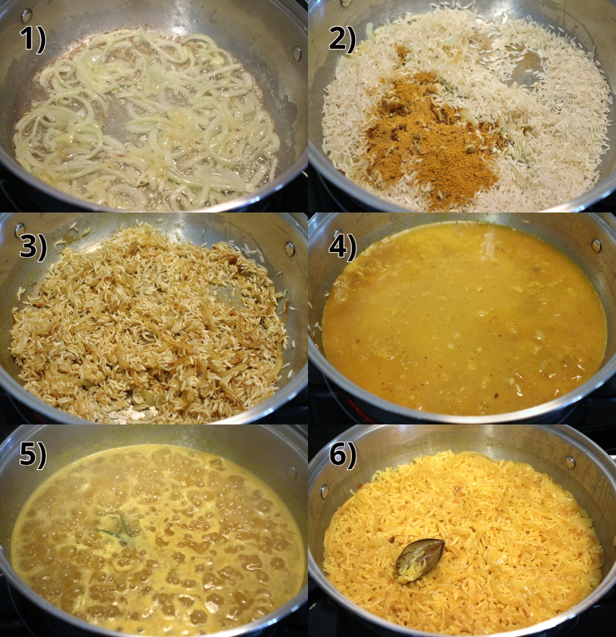 Step by step photos of how to make Caribbean curried rice pilaf with citrus