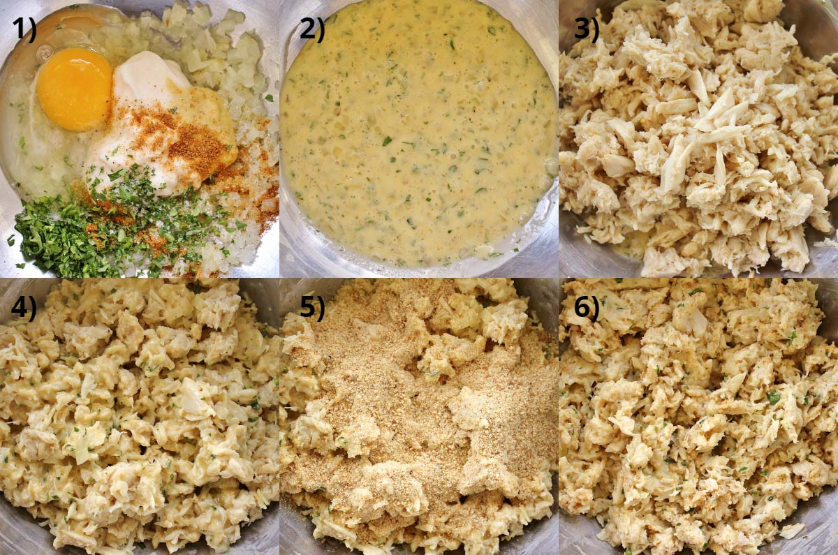 Step by step photos of making the filling for crab cakes