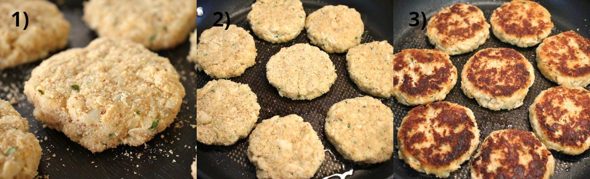 Step by step photos of assembling and cooking homemade crab cakes