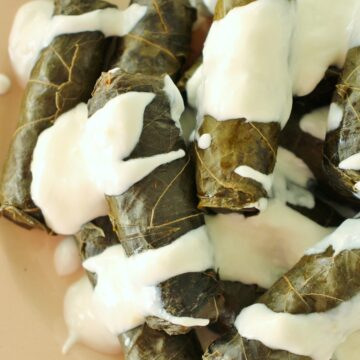 stuffed grape leaves topped with yogurt sauce on antique plate