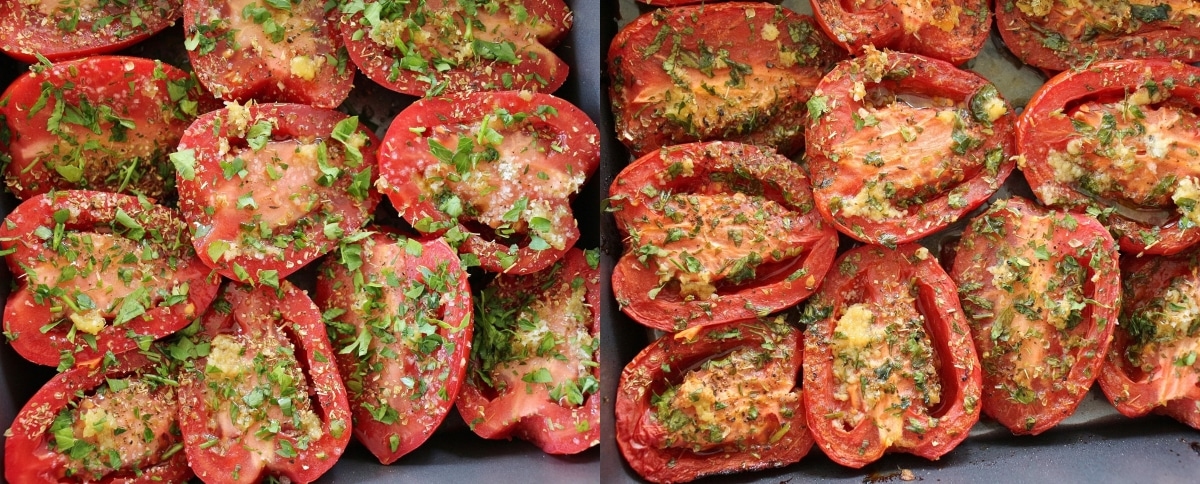 Before and after photos of halved tomatoes roasted in the oven