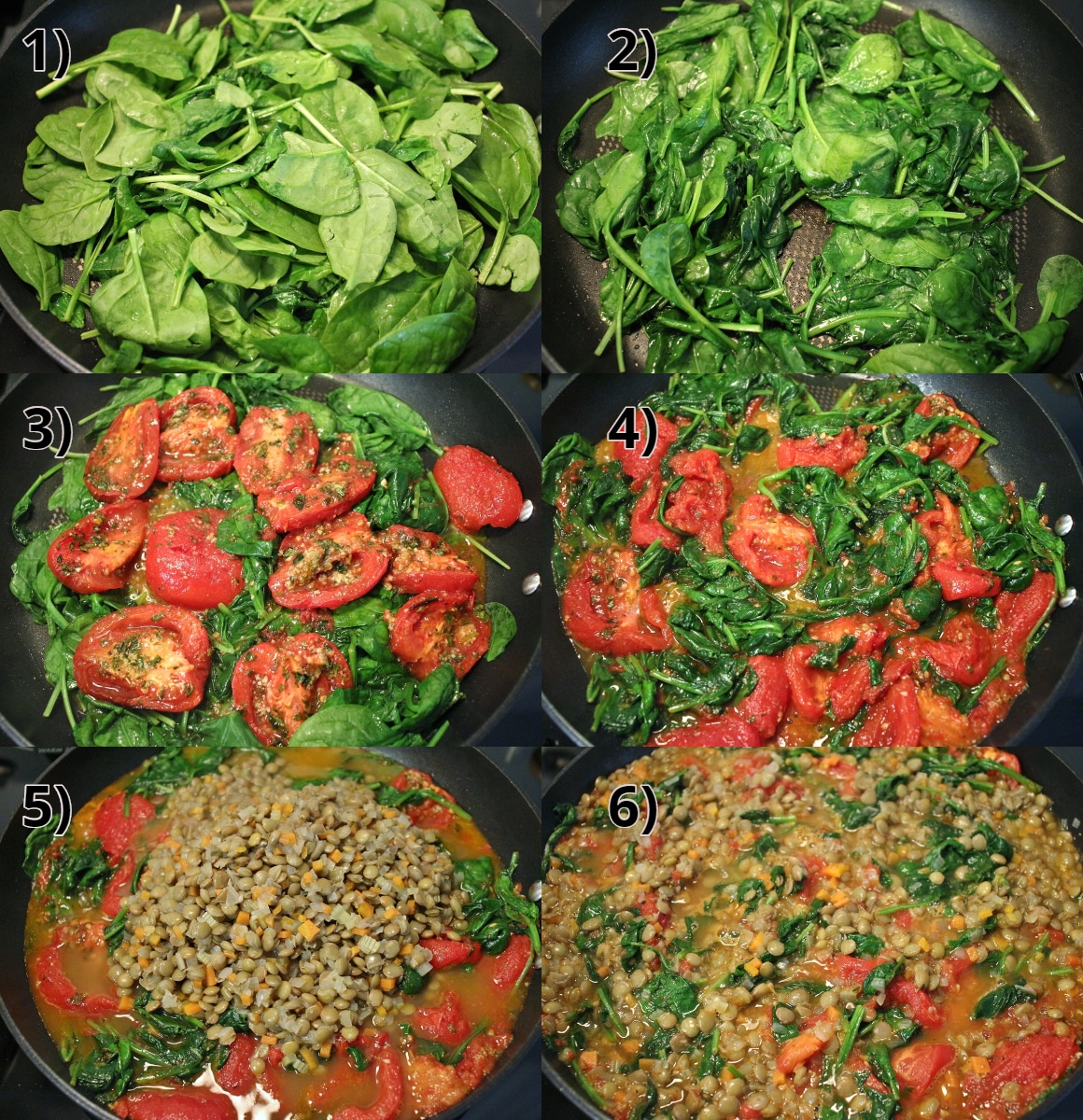 step by step photos of making a lentil, roasted tomato, and spinach sauce for pasta