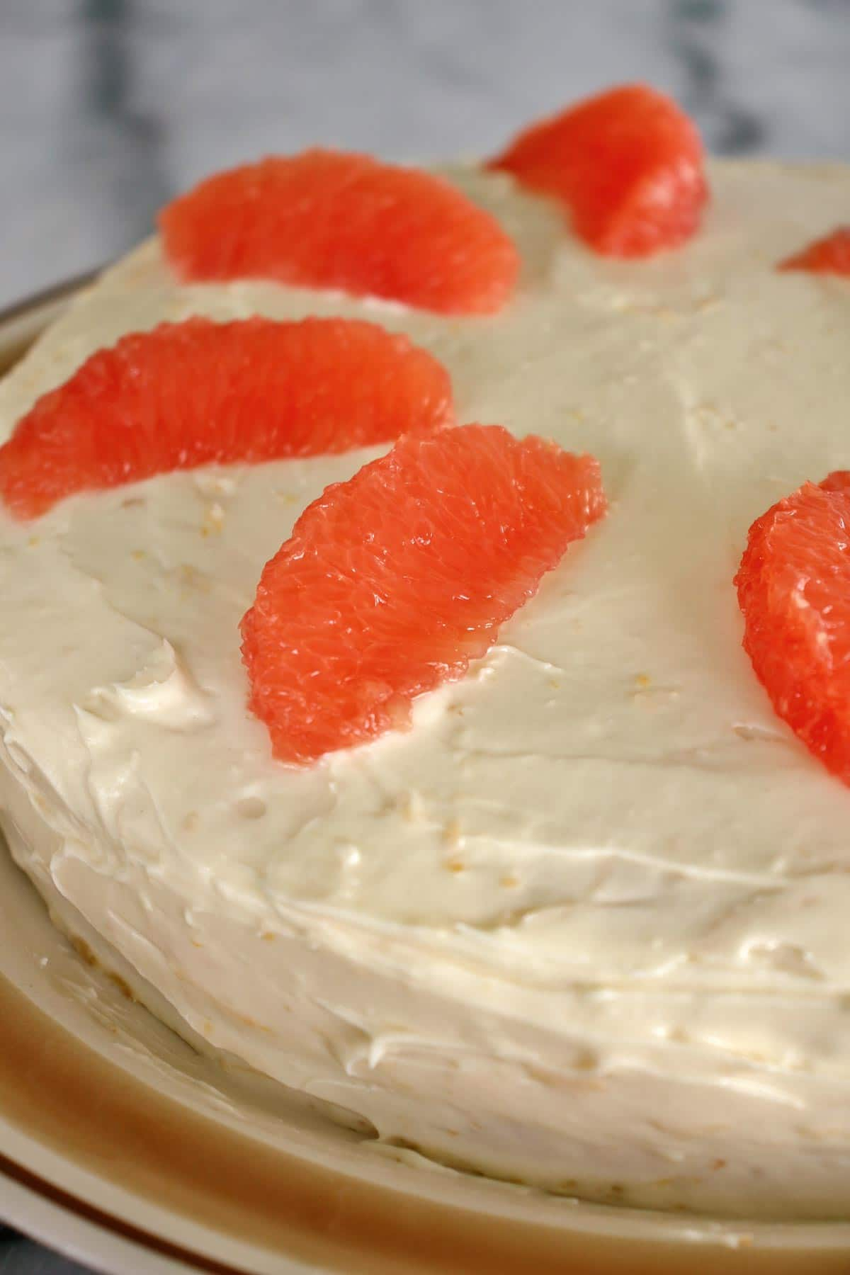 classic Hollywood Brown Derby grapefruit cake with cream cheese frosting and grapefruit
