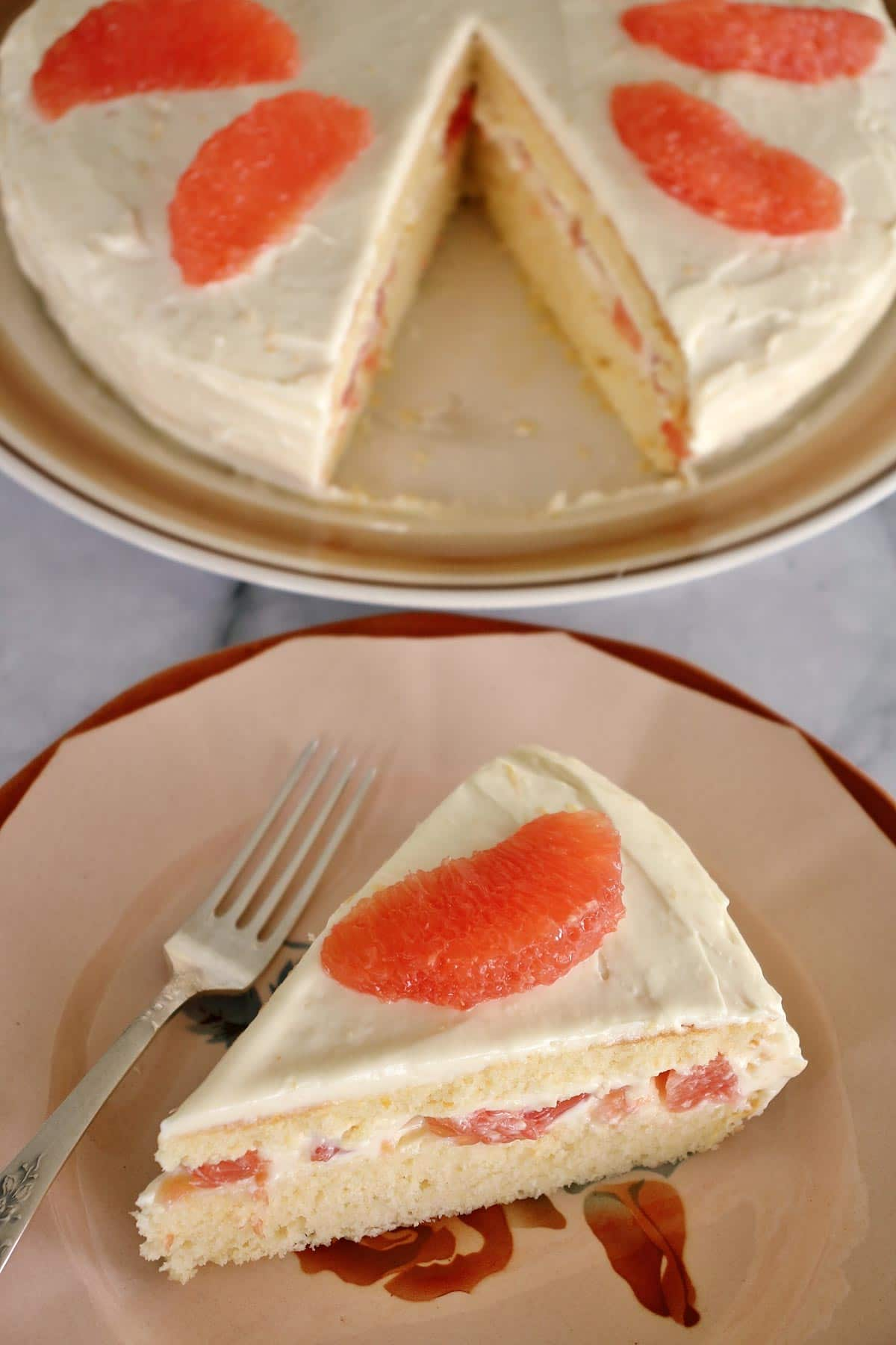A slice of Hollywood Brown Derby grapefruit cake on an antique plate