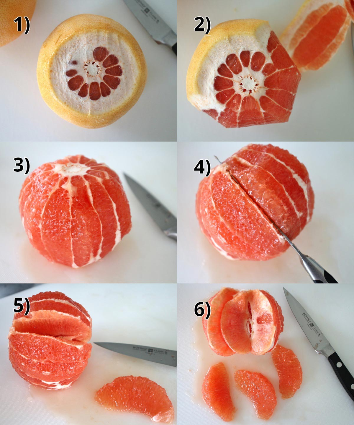 step by step photos of how to supreme a grapefruit