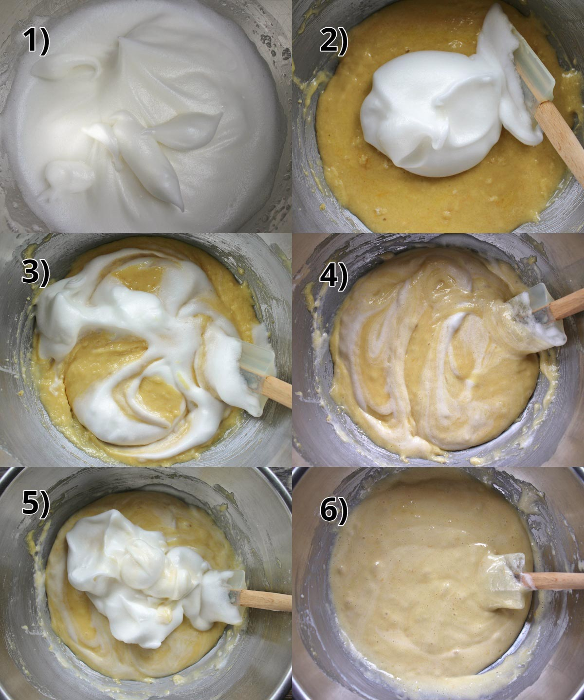 step by step photos of how to fold beaten egg whites into cake batter little by little