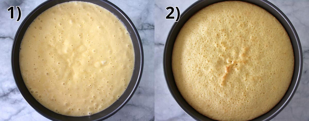 before and after baking pictures of grapefruit cake in a round cake pan