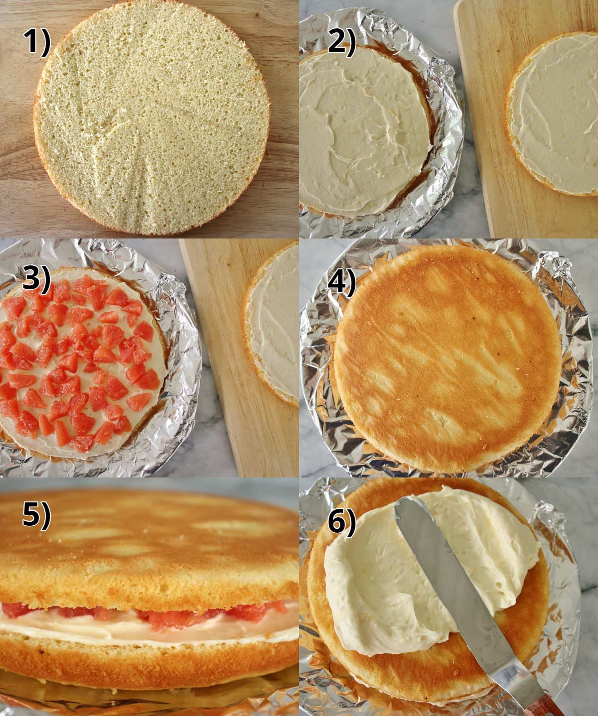 step by step photos of how to assemble and decorate the Hollywood Brown Derby grapefruit cake