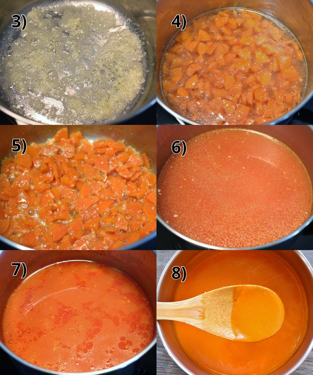 Step by step photos of how to make Venetian sauce with carrots and garlic
