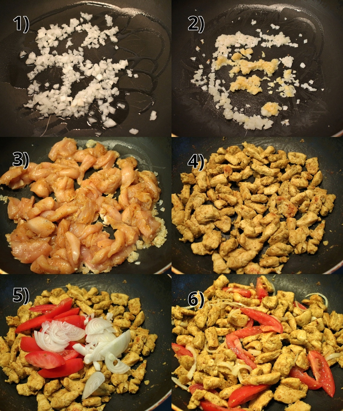 step-by-step photos of how to make Burmese chicken kebat stir-fry