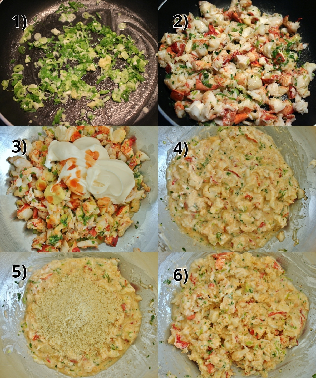 step by step photos of making filling for lobster cakes