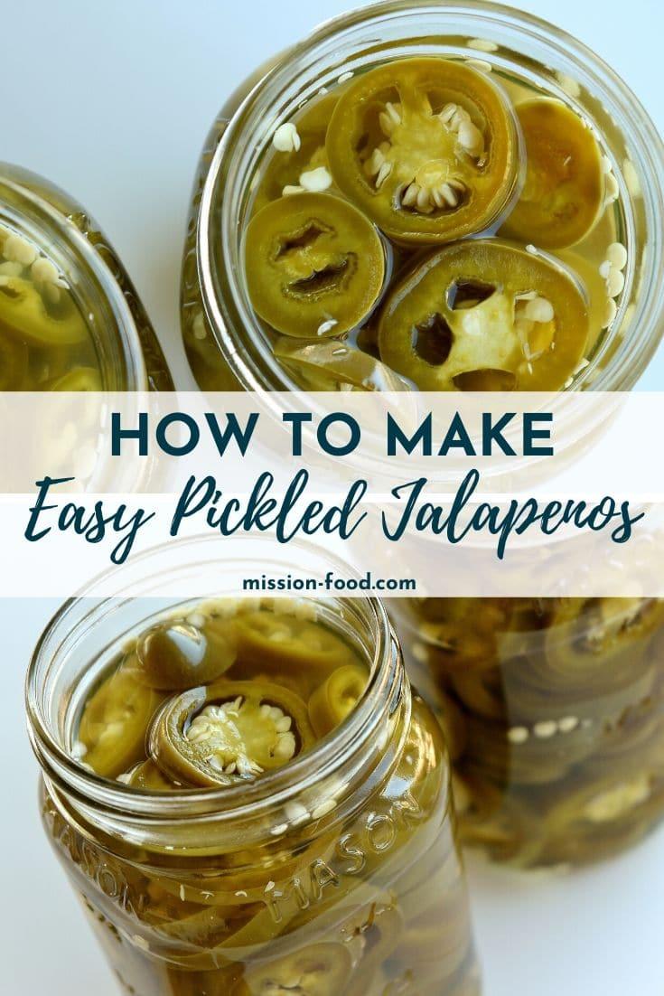 Closeup views of jars of homemade pickled jalapenos