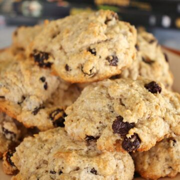 an antique plate piled high with British rock cakes
