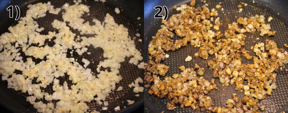 Step-by-step photos of cooking chopped onions in a pan and then adding spices.