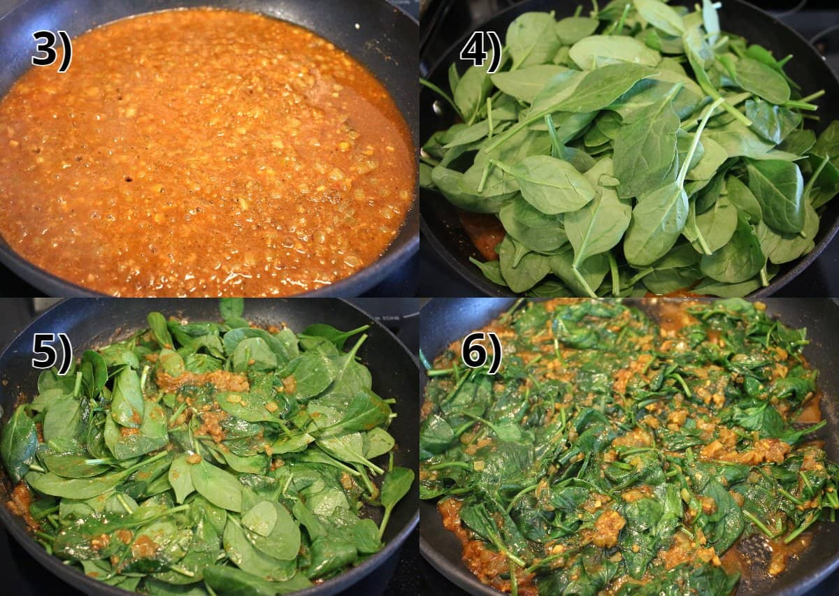 Step-by-step photos of making a curry sauce and then cooking spinach in it.