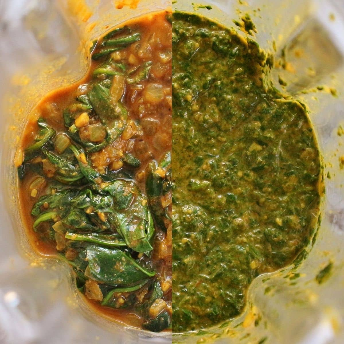 Before and after photos of cooked spinach in spice sauce in a blender.