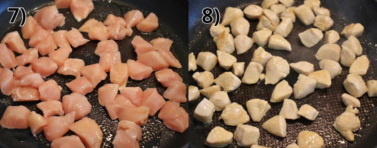 Before and after photos of cubed chicken breast cooking in a pan.