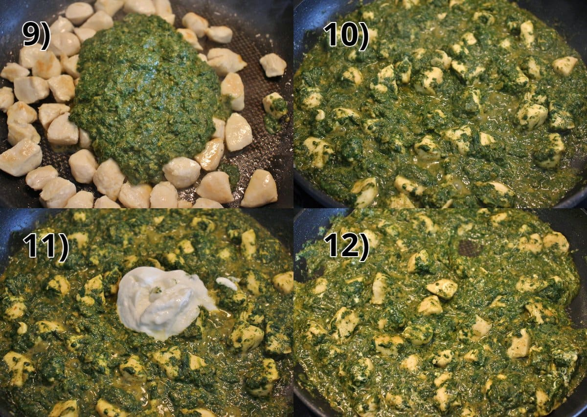 Step-by-step photos of adding saag sauce to chicken and stirring in yogurt.