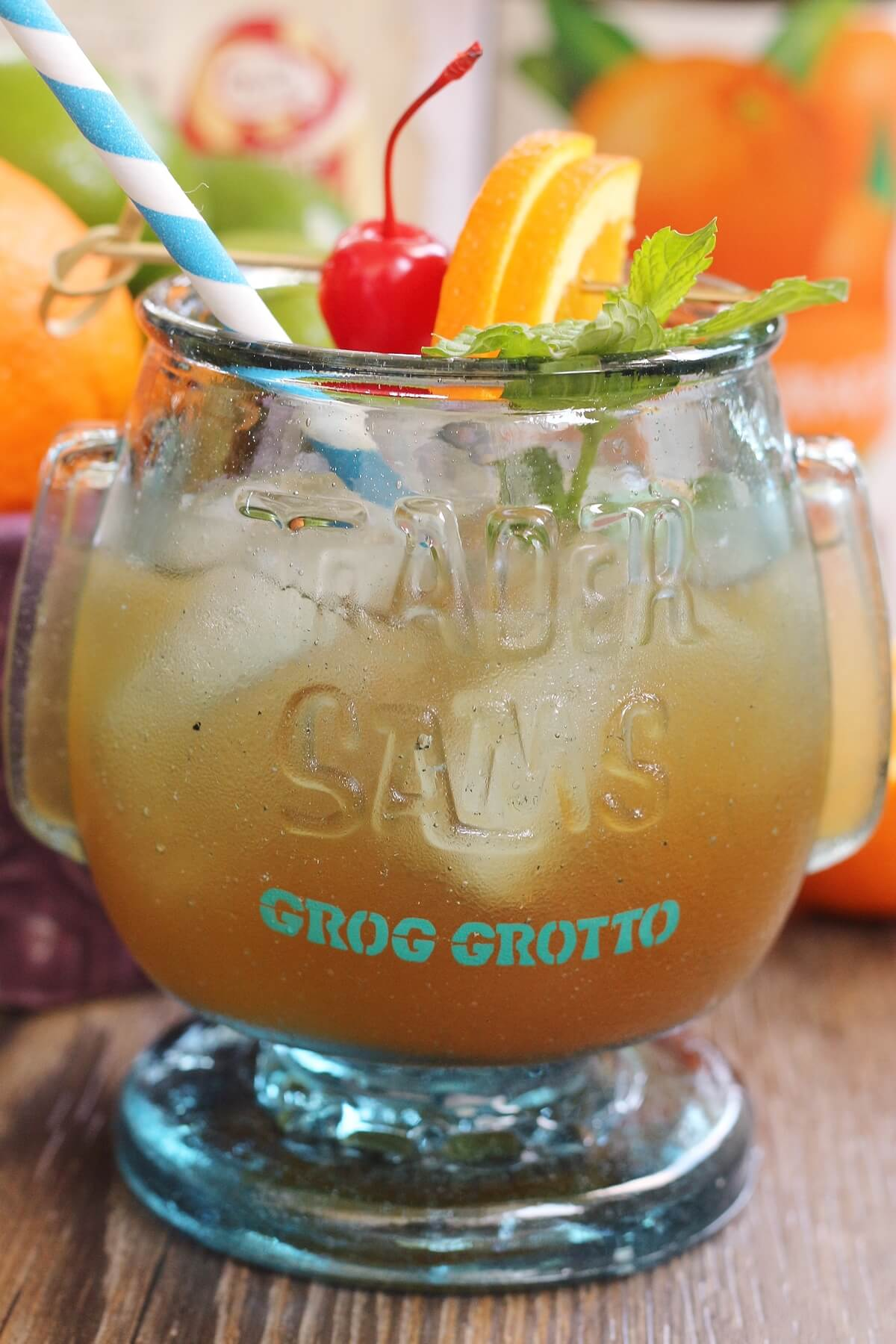 the back of a souvenir glass that says Trader Sam's Grog Grotto