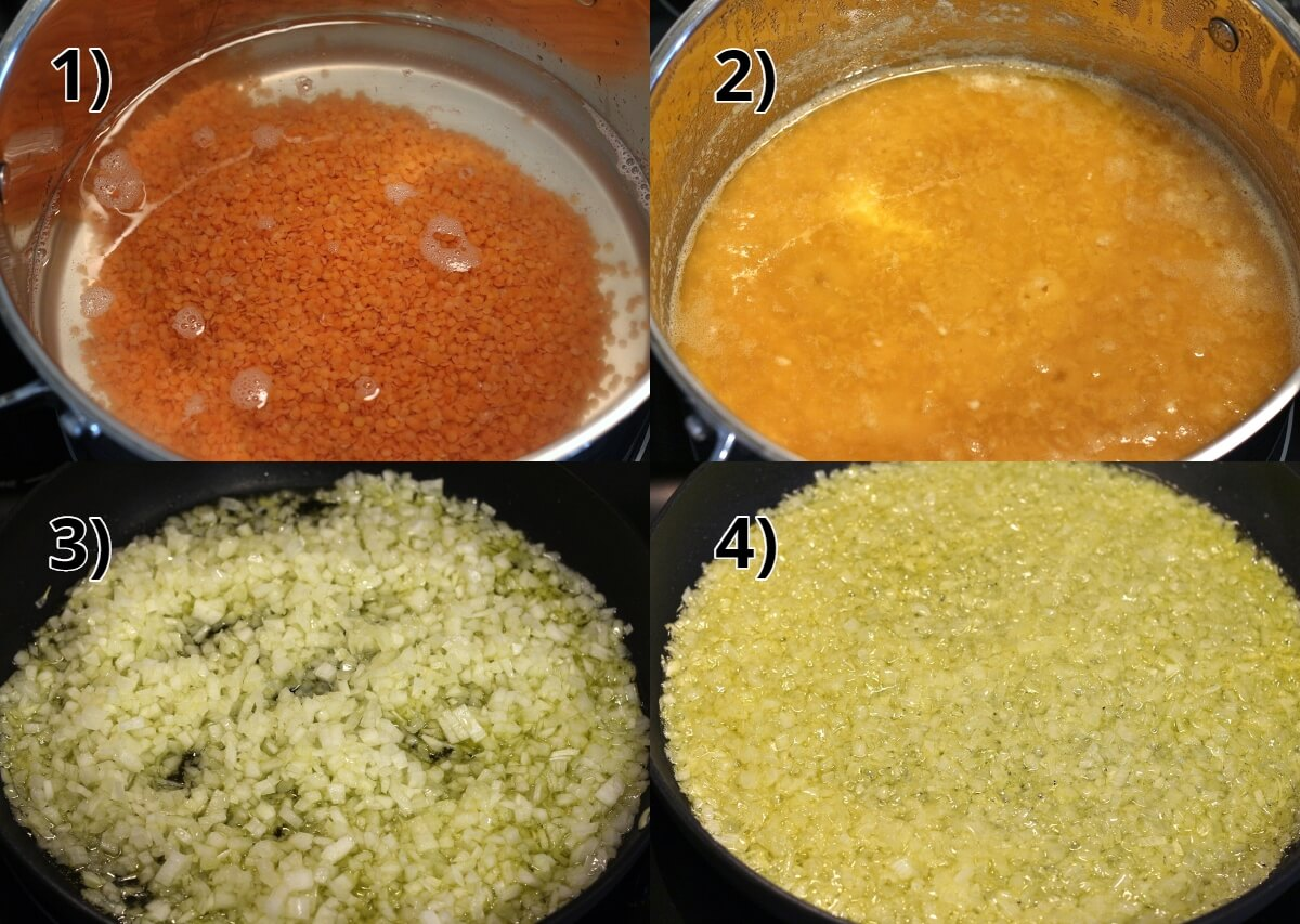 step by step photos of cooking lentils and sauteeing onions