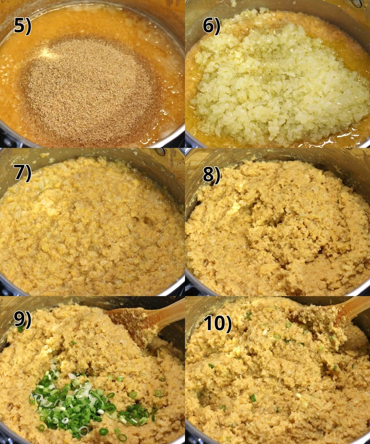 step by step photos of making red lentil kofte with onions and bulgur wheat