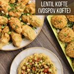 overhead view of plates of Armenian vospov kofte with chopped salad